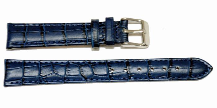 bracelet cuir bleu grain alligator