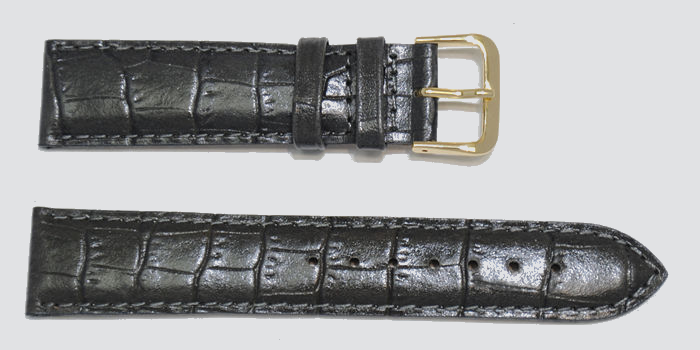bracelet montre grain alligator gris