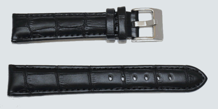Bracelet montre cuir façon alligtor noir