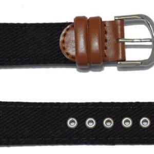 Bracelet-cuir marron-avec-tissu noir
