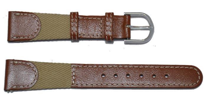 bracelet montre en cuir marron et jeans beige