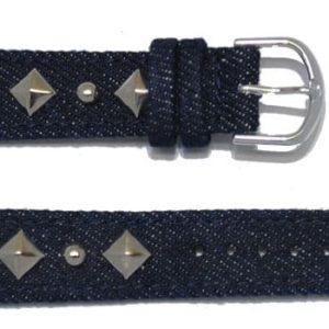 bracelet montre jeans avec déco métal