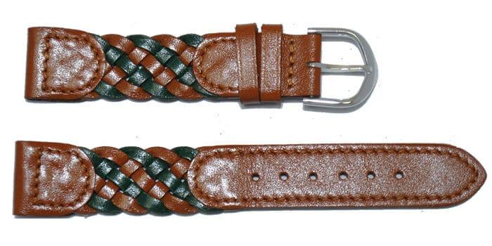 bracelet-montre-tressé-marron et vert